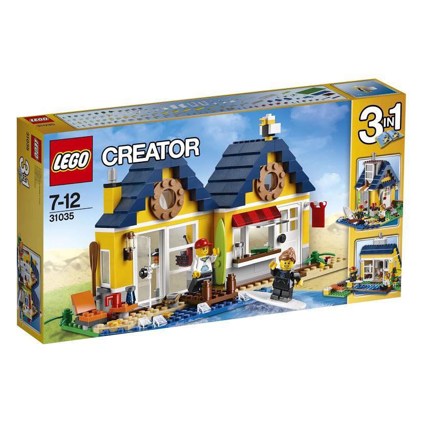 LEGO Creator Конструктор Домик на пляже 3103531035Все займемся серфингом! Столько всего можно сделать у солнечной хижины на пляже. Собирай морских звезд, уплывай с удобного причала, поймай волну, чтобы победить в серфинге. Разложи пляжный домик и у тебя получится магазин для занятий серфингом с видом на пляж, где ты сможешь выдавать напрокат доски для серфинга, давать уроки серфинга и подавать солнцелюбивым покупателям холодные освежающие напитки. Этот потрясающий набор полон деталей, его можно переделать в чудесную летнюю хижину с бассейном на улице или удобный летний домик у моря - все это из одного набора кубиков! Этот красочный игровой набор содержит 286 пластиковых элементов для сборки, 2 фигурки и инструкцию по сборке. Конструктор - это один из самых увлекательнейших и веселых способов времяпрепровождения. Ребенок сможет часами играть с конструктором, придумывая различные ситуации и истории. В процессе игры с конструкторами LEGO дети приобретают и постигают такие необходимые навыки как познание,...