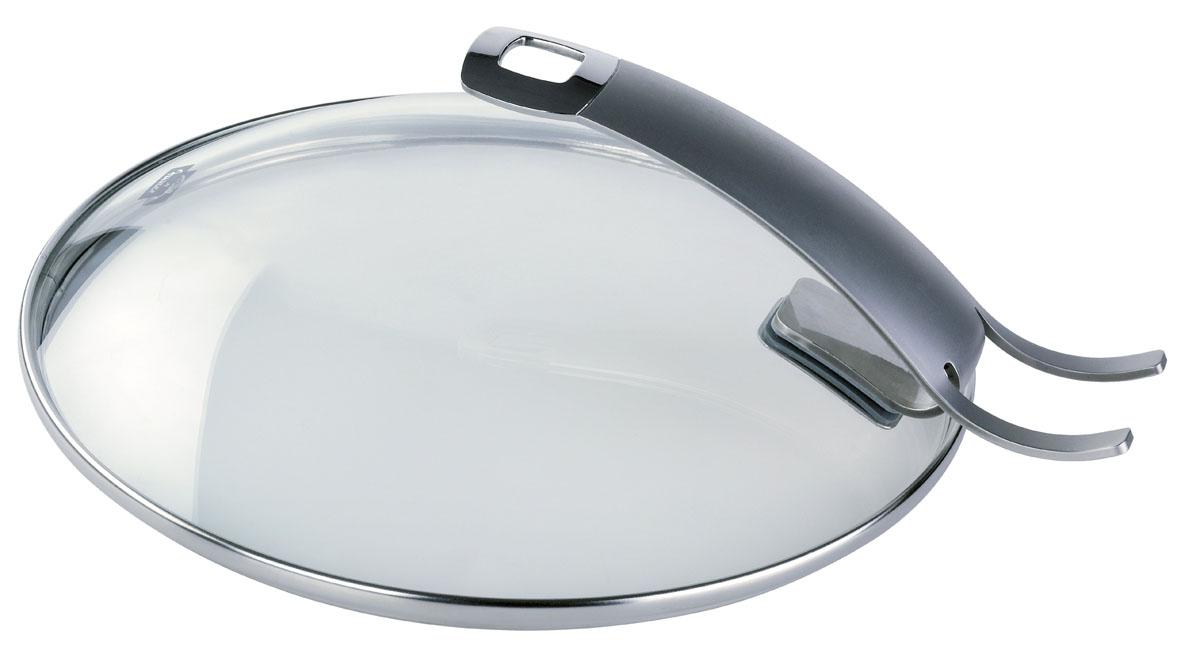 Крышка стеклянная Fissler, цвет: золотистый. Диаметр 26 см185000262Крышка Fissler изготовлена из жаропрочного стекла. Обод и ручка, выполненные из высококачественной стали18/10, защищают крышку от повреждений. Ручка, выполненная в виде подставки, позволяет устанавливать крышку в вертикальном положении и экономит рабочее пространство на кухне. Крышка удобна в использовании. Она позволяет контролировать процесс приготовления пищи. Имеется отверстие для выпуска пара. Изделие подходит для всех сковород Fissler соответствующего диаметра.