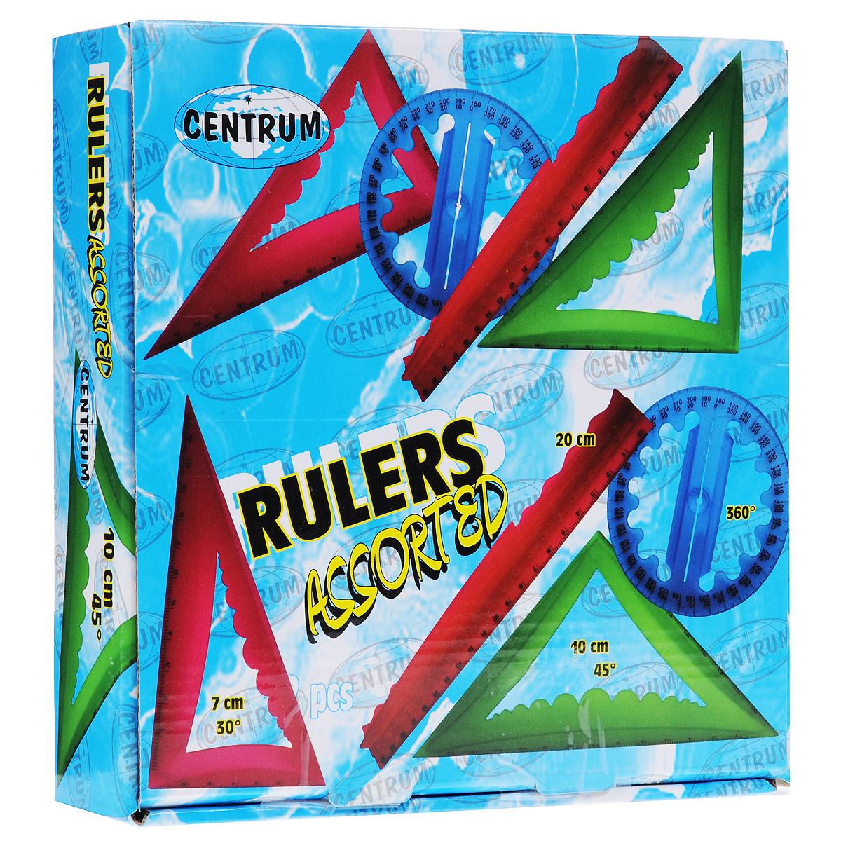 Набор объемных линеек Centrum, 48 шт83540Набор Centrum включает 48 объемных линеек: 12 линеек 20 см, 12 треугольников 30°, 12 треугольников 45° и 12 транспортиров 360°. Линейки представлены четырех цветов: оранжевого, розового, синего и зеленого (по три линейки каждого цвета и каждого вида).