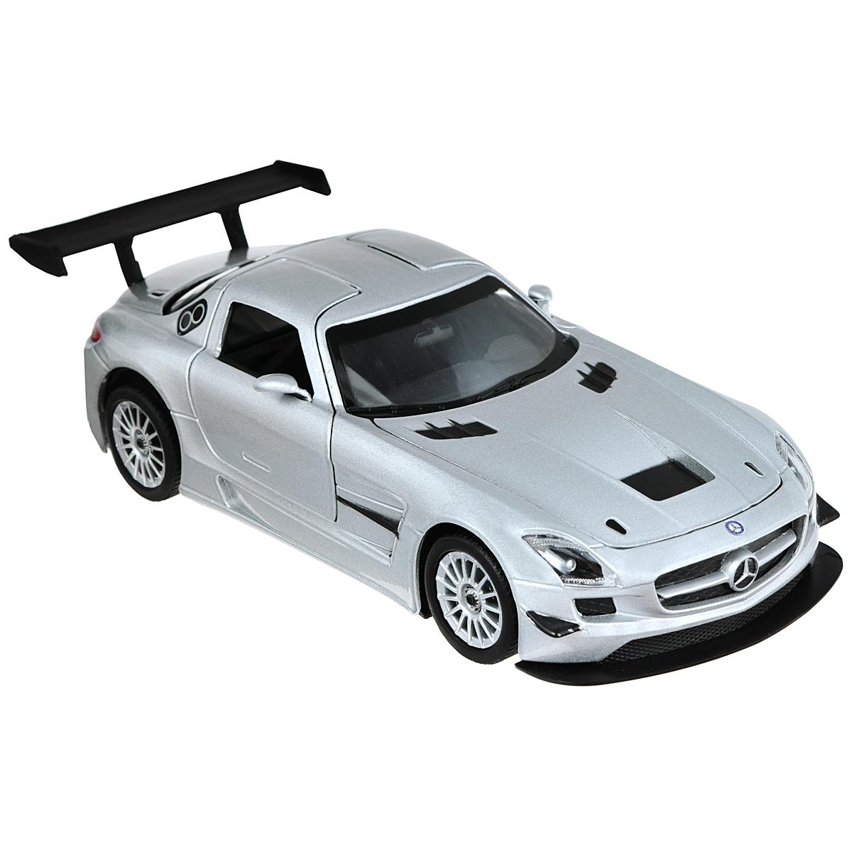 Коллекционная модель MotorMax Mercedes Benz SLS АMG GT3, цвет: серебристый. Масштаб 1/24silver/ast73356Коллекционная модель MotorMax Mercedes Benz SLS АMG GT3 станет хорошим подарком для любого ценителя автомобилей. Эксклюзивная гоночная версия Mercedes-Benz SLS AMG GT3 - это настоящий гоночный болид с узнаваемыми линиями Mercedes, задним спойлером и дверями типа крыло чайки, подготовленный специально для участия в соревнованиях класса GT3. Насладитесь прекрасным авто вместе с масштабной моделью от MotorMax. Корпус машинки отлит по технологии Die Cast, он металлический, декорирован пластиковыми элементами, шины на колесах выполнены из резины. У автомобиля открываются двери и капот, а также поворачиваются колеса. Модель с высочайшей точностью соответствует облику настоящего Mercedes-Benz SLS AMG GT3. Это касается и деталей интерьера, моторного отсека и багажного отделения.