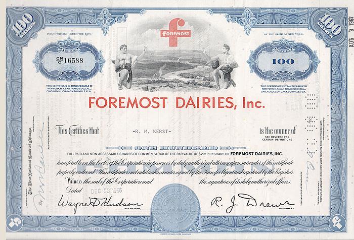 Ценная бумага Foremost Dairies, Inc. Сертификат на 100 акций. США, 1966 год1806-1808**Ценная бумага Foremost Dairies, Inc. Сертификат на 100 акций. США, 1966 год. Размер: 20.5 х 30 см. Сохранность хорошая. На листе 3 вертикальных сгиба.