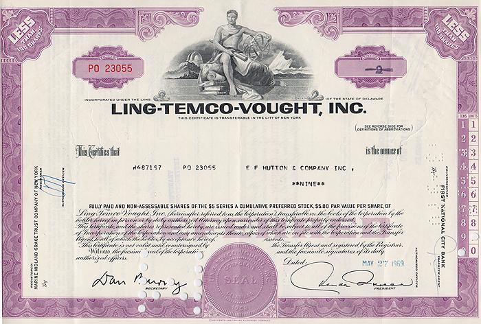 Ценная бумага Ling-Temco-Vought, Inc. Сертификат на 9 акций. США, 1969 год1806-1808**Ценная бумага Ling-Temco-Vought, Inc. Сертификат на 9 акций. США, 1969 год. Размер: 20.5 х 30 см. Сохранность хорошая. На листе три вертикальных сгиба.
