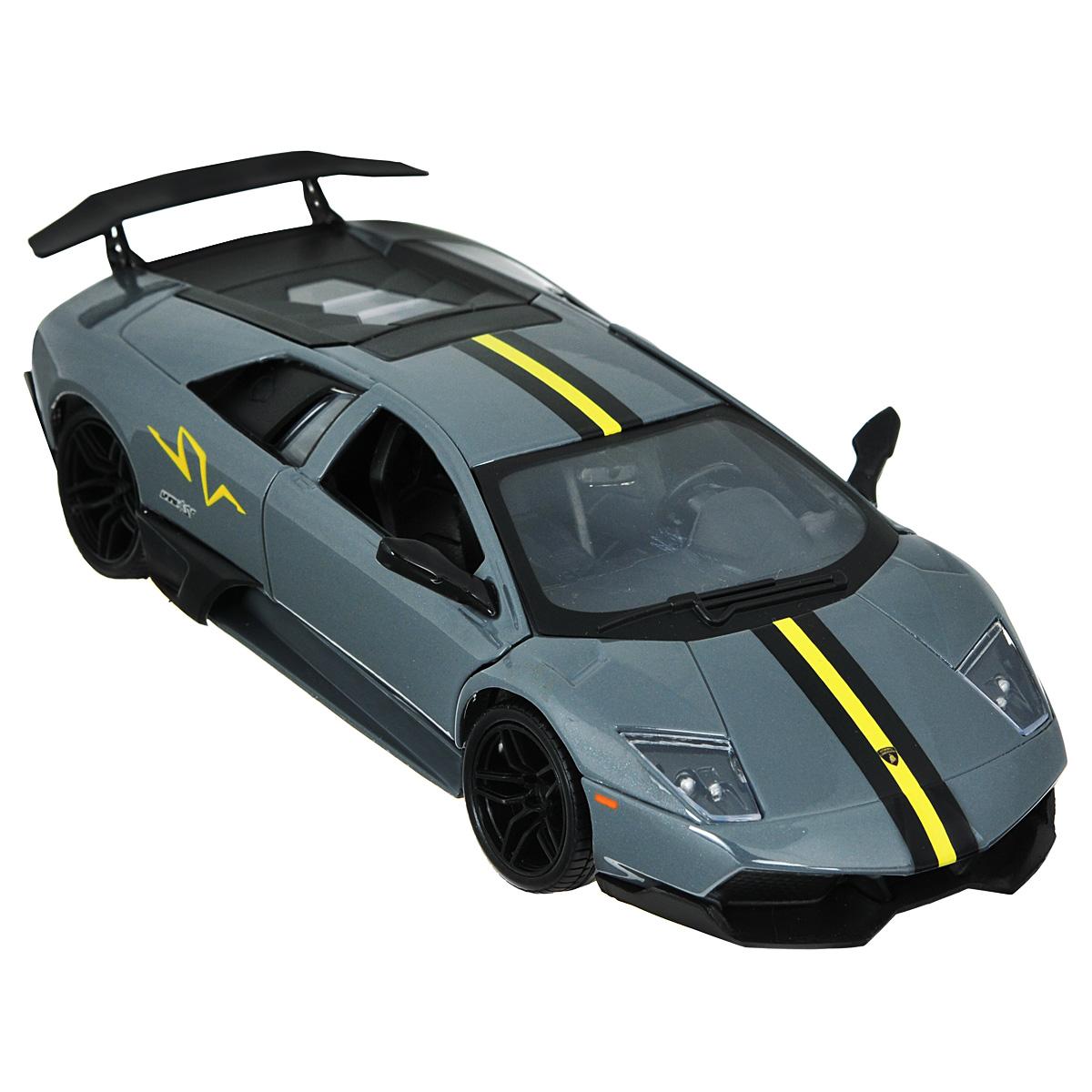 MotorMax Модель автомобиля Lamborghini Murcielago LP 670-4 SV цвет черныйblack_metallic/ast73350Коллекционная модель MotorMax Laмborghini Murcielago LP 670-4 SV станет хорошим подарком для любого ценителя автомобилей. Она имеет отличную детализацию и является уменьшенной копией настоящей машины. LP 670-4 SV - последняя модификация, разработанная в серии Lamborghini Murcielago. Это по-настоящему мощный и высокоскоростной спорткар, разгоняющийся до 100 км/ч за 3,2 секунды. О такой машине можно только мечтать! Масштабная модель от MotorMax позволяет насладиться великолепным авто. Она выполнена с высокой степенью детализации, поэтому вы можете рассмотреть даже мелкие детали интерьера, открыв дверь своего Lamborghini. Под капотом таится тщательно выполненный моторный отсек. У машины открываются двери и капот, а также поворачиваются колеса. Корпус машинки отлит из металла, салон декорирован пластиком, а на колесах авто - резиновые шины.