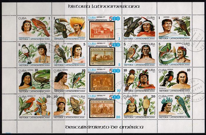 Малый лист История Латинской Америки. Куба, 1987 год341937Малый лист История Латинской Америки. Куба. 1987 год. Размер марок: 4 х 4.5 см. Размер листа: 16.5 х 25.5 см.
