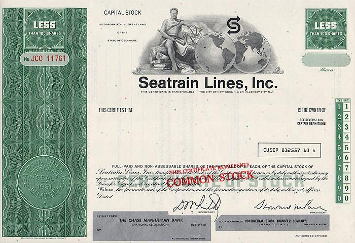 Ценная бумага Seatrain Lines, Inc. Акционный сертификат (бланк). США, 1970 год341937Ценная бумага Seatrain Lines, Inc. Акционный сертификат (бланк). США, 1970 год. br> Размер: 20.5 х 30 см. Сохранность хорошая. Лицевая сторона сертификата украшена аллегорическим изображением молодого мужчины, держащего в руках шар.