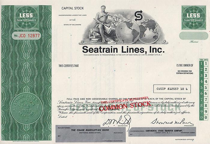 Ценная бумага Seatrain Lines, Inc. Акционный сертификат (бланк). США, 1970 год341937Ценная бумага Seatrain Lines, Inc. Акционный сертификат (бланк). США, 1970 год. Размер: 20.5 х 30 см. Сохранность хорошая. Лицевая сторона сертификата украшена аллегорическим изображением молодого мужчины, держащего в руках шар.