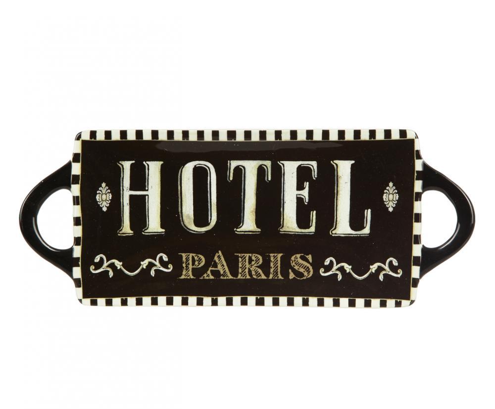 Блюдо Certified International Hotel Paris, 40 см х 16 см41316Изящное прямоугольное блюдо Certified International Hotel Paris изготовлено из высококачественной керамики, которая отличается практичностью и высоким качеством исполнения. Изделие, украшенное надписью Hotel Paris, расписано вручную и покрыто глазурью, выполнено из экологически чистых материалов, что обеспечивает сохранение отменного вкуса блюд. Эта керамическая посуда химически инертна, не вступает в реакцию с пищей, не выделяет вредных веществ, при перегреве. Блюдо оснащено ручками. Такое блюдо прекрасно оформит праздничный стол и станет желанным подарком для любой хозяйки. Размер: 40 см х 16 см х 2,5 см.