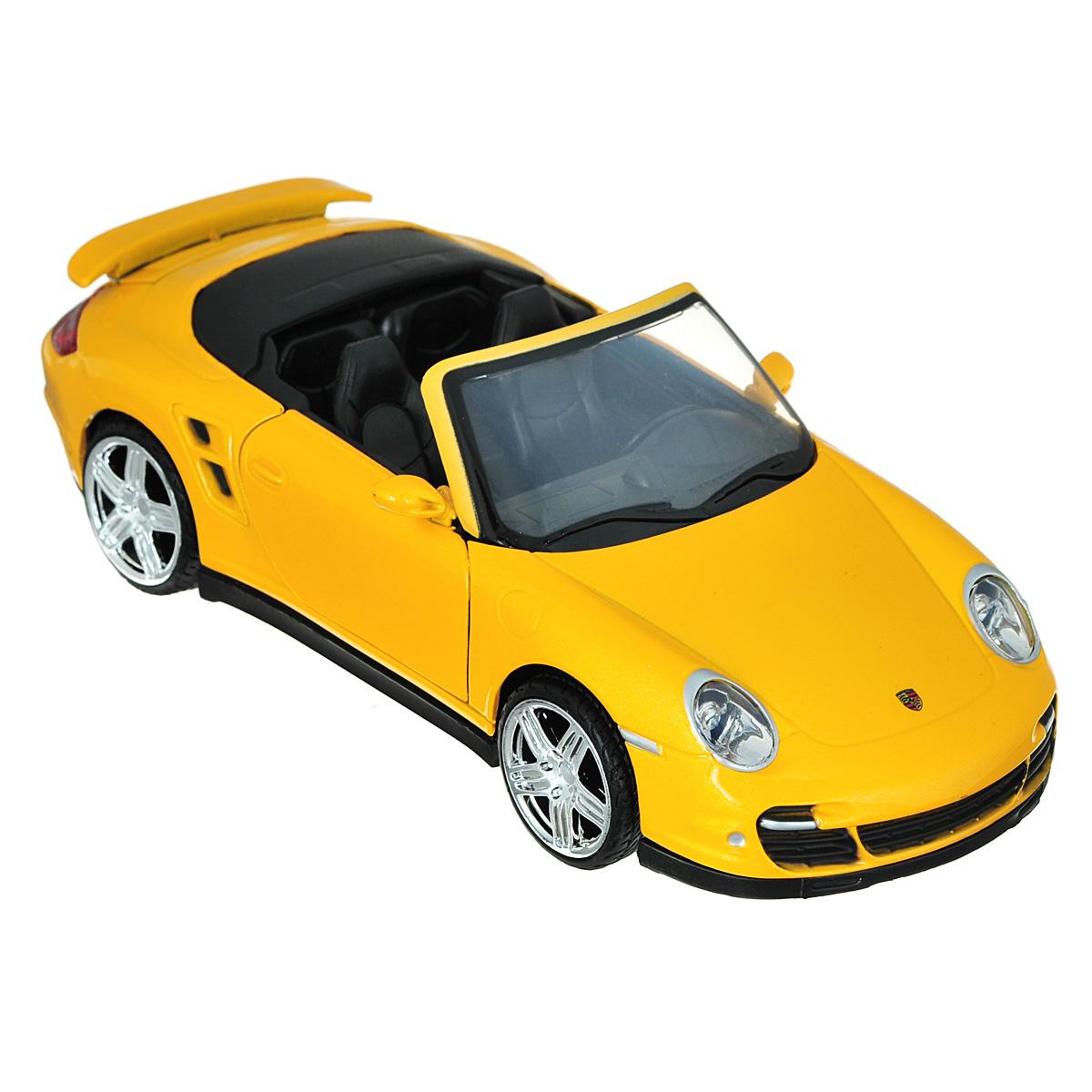 MotorMax Модель автомобиля Porsche 911 Turbo Cabrioletyellow/ast73348Коллекционная модель MotorMax Porsche 911 Turbo Cabriolet станет хорошим подарком для любого ценителя автомобилей. Porsche Turbo 911 Cabriolet - это ожившая классика, оборудованная по последнему слову современной техники. Еще больше комфорта и скорости! Включите этот по-настоящему удивительный автомобиль в свою личную коллекцию с масштабной моделью от MotorMax. Машинка имеет отличную детализацию и является уменьшенной копией настоящей машины. Загляните под капот или в салон, и вы сами убедитесь в этом. У машины открываются двери и капот, а также вращаются колеса. Корпус из литого металла обеспечивает модели долгий срок службы, пластиковые элементы в отделке салона позволяют добиться максимального соответствия прототипу, а резиновые шины на колесах - приятный бонус ко всем прочим достоинствам.