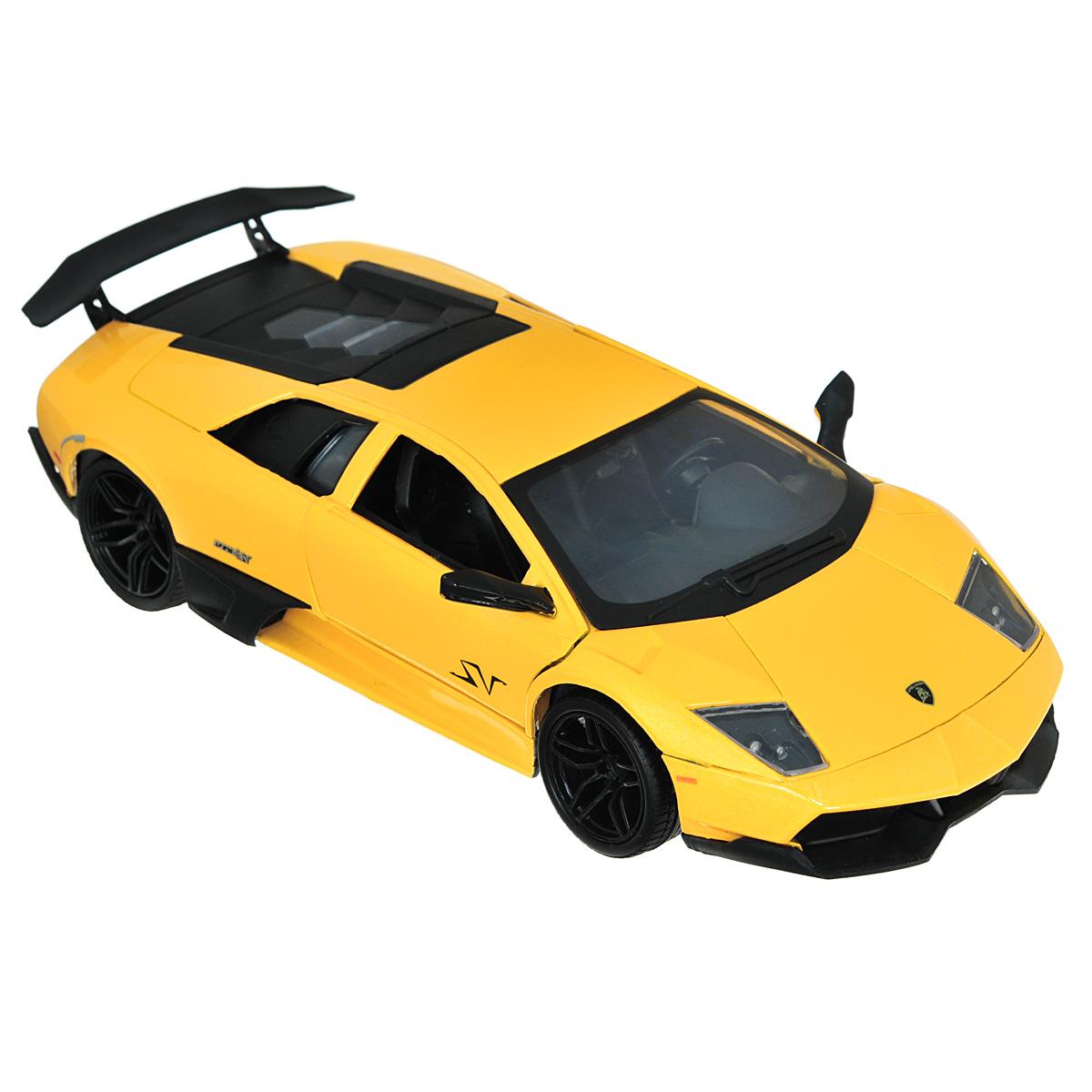 MotorMax Модель автомобиля Lamborghini Murcielago LP 670-4 SV цвет желтыйyellow_metallic/ast73350Коллекционная модель MotorMax Laмborghini Murcielago LP 670-4 SV станет хорошим подарком для любого ценителя автомобилей. Она имеет отличную детализацию и является уменьшенной копией настоящей машины. LP 670-4 SV - последняя модификация, разработанная в серии Lamborghini Murcielago. Это по-настоящему мощный и высокоскоростной спорткар, разгоняющийся до 100 км/ч за 3,2 секунды. О такой машине можно только мечтать! Масштабная модель от MotorMax позволяет насладиться великолепным авто. Она выполнена с высокой степенью детализации, поэтому вы можете рассмотреть даже мелкие детали интерьера, открыв дверь своего Lamborghini. Под капотом таится тщательно выполненный моторный отсек. У машины открываются двери и капот, а также поворачиваются колеса. Корпус машинки отлит из металла, салон декорирован пластиком, а на колесах авто - резиновые шины.