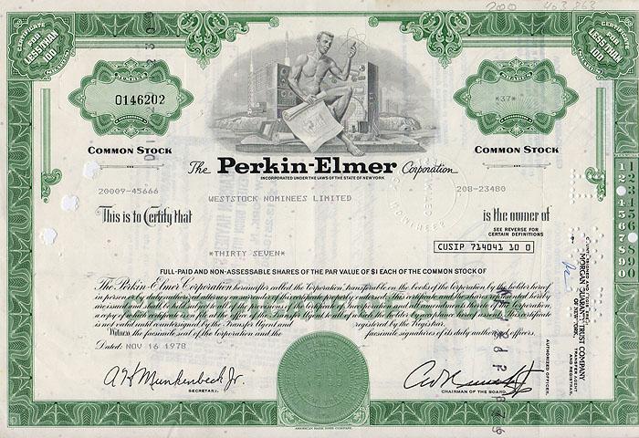 Ценная бумага The Perkin-Elmer Corporation. Сертификат на 37 акций. США, 1978 год341937Ценная бумага The Perkin-Elmer Corporation. Сертификат на 37 акций. США, 1978 год. Размер: 20.5 х 30 см. Сохранность хорошая. На листе 2 вертикальные складки.