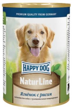 Консервы для собак Happy Dog Natur, с ягненком и рисом, кусочки в соусе, 400 г15872Каждому хочется кормить своего питомца не только полезным и сбалансированным, но и вкусным питанием, которое собака будет кушать с удовольствием и в достаточном количестве, ведь от этого напрямую зависит самочувствие животного. Если ваш пушистый друг отдает предпочтение влажным кормам, тогда на роль полноценного рациона можно выбрать консервы Happy Dog Natur с ягненком и рисом. Консервы для собак Happy Dog Natur с ягненком и рисом подходят для кормления собак любых пород и содержат умеренное количество калорий, чтобы животное оставалось в хорошей форме и не набирало лишние килограммы. Мягкая консистенция консервов прекрасно разжевывается даже самыми маленькими питомцами и хорошо усваивается, что сводит к минимуму риск появления кишечных расстройств и нарушений работы пищеварительной системы. Снижению вероятности появления аллергических реакций также будет содействовать наличие в составе ограниченного количества высококачественных ингредиентов и отсутствие сои, искусственных...