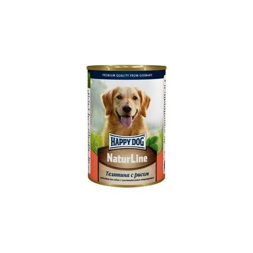 Консервы для собак Happy Dog, с телятиной и рисом, кусочки в соусе, 400 г15874Натуральный консервированный корм Happy Dog Natur Line с телятиной и рисом подходит для кормления взрослых собак. Уникальная сбалансированная рецептура консервов соответствует потребностям взрослых животных, чтобы вместе с питанием питомец получал достаточное количество питательных веществ. Немаловажно, что в состав консервов входит ограниченное число ингредиентов, поэтому вероятность возникновения аллергии сводится к минимуму. В том числе несомненным преимуществом рациона является отсутствие в нем сои, а также искусственных красителей и консервантов. Превосходное сочетание высококачественной телятины и риса наделяет консервы для собак Happy Dog Natur Line отменным вкусом и ароматом, чтобы даже самый привередливый гурман с удовольствием съедал всю порцию корма, что очень важно для хорошего самочувствия животного. Телятина является одним из самых полезных и диетических видов мяса. Экстрактивные вещества способствуют выделению желудочного сока и тем самым содействуют улучшению...