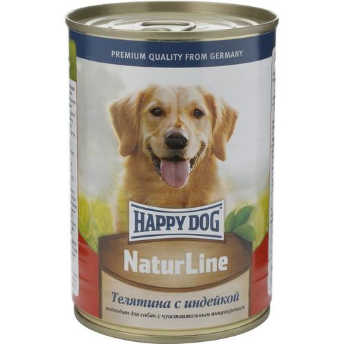 Консервы для собак Happy Dog Natur, с телятиной и индейкой, 400 г. 1588115881Консервы для собак Happy Dog Natur предназначены для кормления взрослых собак всех пород. Основу рациона собаки должно составлять мясо, ведь именно мясо является источником животного белка - необходимого строительного материала всего организма. Консервы для собак Happy Dog Natur с телятиной и индейкой не содержат сою, искусственные красители и консерванты и приготовлены из ограниченного числа ингредиентов, поэтому вам не составит труда исключить из рациона вашего питомца все потенциальные аллергены. В основе консервов находится высококачественная телятина и индейка, которые придутся по вкусу каждому, даже самому разборчивому в еде животному. Телятина богата качественным белком, витаминами, минералами и содержит лишь небольшое количество холестерина, что положительно сказывается на здоровье сердечно-сосудистой системы. Среди входящих в состав телятины витаминов можно выделить витамины группы B, необходимые для нормальной работы ЦНС и протекающих в организме...