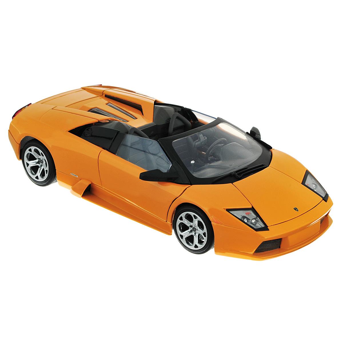 MotorMax Модель автомобиля Lamborghini Murcielago Roadster цвет оранжевыйorange/ast73316Коллекционная модель MotorMax Laмborghini Murcielago Roadster станет хорошим подарком для любого ценителя автомобилей. Она имеет отличную детализацию и является уменьшенной копией настоящей машины. Lamborghini Murcielago Roadster по традиции компании получил свое имя в честь одного из боевых быков, который остался на ногах после 24 ударов матадора. Этот родстер силен и вынослив как бык, он просто великолепен на трассе. Добавьте его в свою коллекцию авто. Масштабная модель выполнена из металла с пластиковыми элементами. Металлический корпус - залог долговечности вашей игрушки. Кроме того, для шин использована настоящая резина. Двери машинки и капот открываются, а колеса поворачиваются. Внутри вы можете увидеть максимально точно воспроизведенный салон и двигатель авто.
