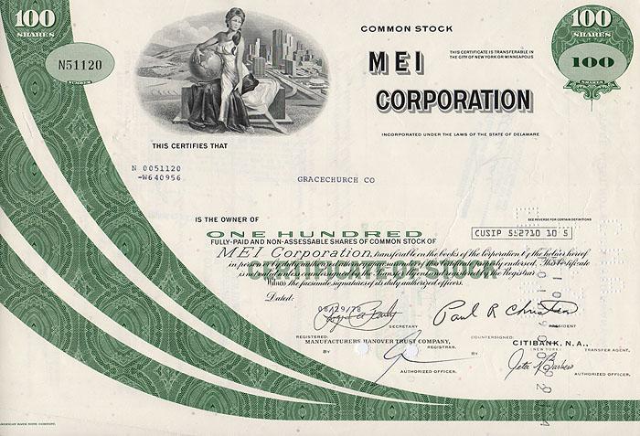 Ценная бумага Mei Corporation. Сертификат на 100 акций. США, 1978 год341937Ценная бумага Mei Corporation. Сертификат на 100 акций. США, 1978 год. Размер: 20.5 х 30 см. Сохранность хорошая.