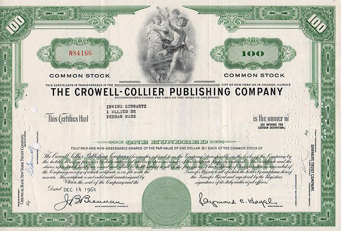 Ценная бумага The Crowell - Collier Publishing Company. Сертификат на 100 акций. США, 1964 год1806-1808**Ценная бумага The Crowell - Collier Publishing Company. Сертификат на 100 акций. США, 1964 год. Размер: 20.5 х 30 см. Сохранность хорошая. На листе 2 вертикальные складки.