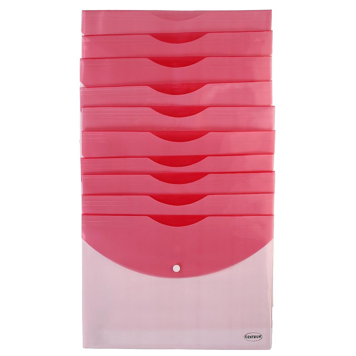 Папка-конверт на кнопке Centrum, цвет: розовый. Формат А4, 10 шт83625_розовыйПапка-конверт Centrum - это удобный и функциональный офисный инструмент, предназначенный для хранения и транспортировки рабочих бумаг и документов формата А4. Папка изготовлена из полупрозрачного глянцевого пластика двух цветов, закрывается на практичную крышку с кнопкой. В комплект входят 10 папок формата A4. Папка-конверт - это незаменимый атрибут для студента, школьника, офисного работника. Такая папка надежно сохранит ваши документы и сбережет их от повреждений, пыли и влаги.