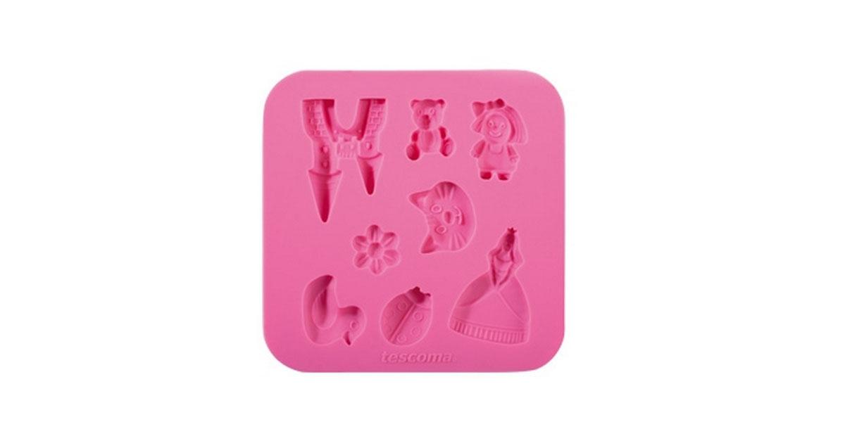 Форма для украшения выпечки Tescoma Для девочек, 8 ячеек633010Форма Tescoma Для девочек отлично подходит для украшения выпечки фигурками из марципана или помадки. Необходимо поставить заполненные формы в морозильник на 5-10 минут, а затем вытащить их, мягко нажав на дно формы. Форма изготовлена из превосходного гибкого силикона. На одном листе расположены 8 ячеек в виде замка, принцессы, утки, цветка. Можно мыть в посудомоечной машине.
