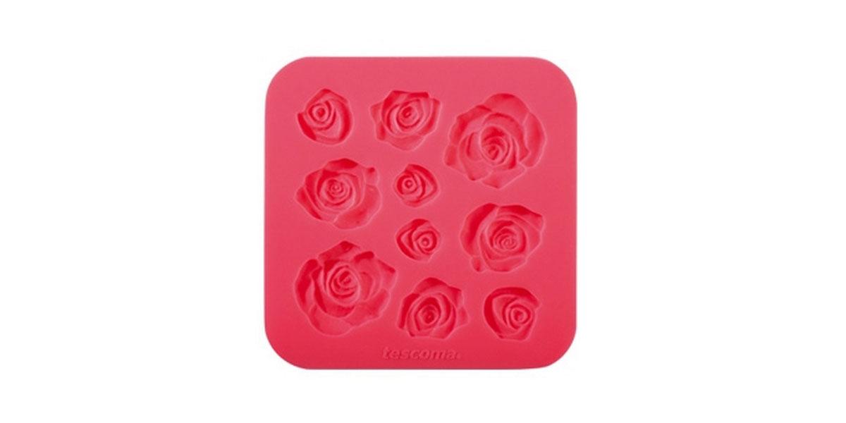 """Молд для нанесения рисунка на мастику Tescoma """"Delicia Deco"""", цвет: красный, 13 см х 13 см"""