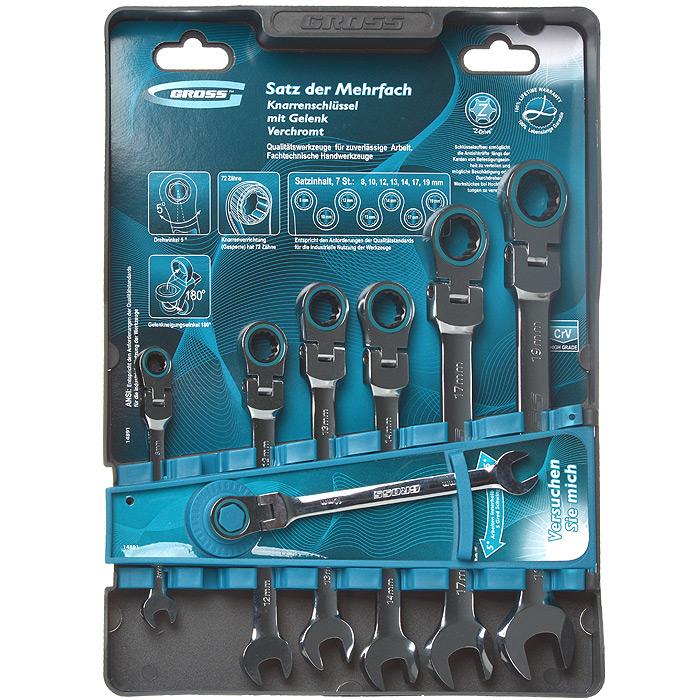 Набор комбинированных ключей Gross, шарнирные, с трещоткой, 7 шт