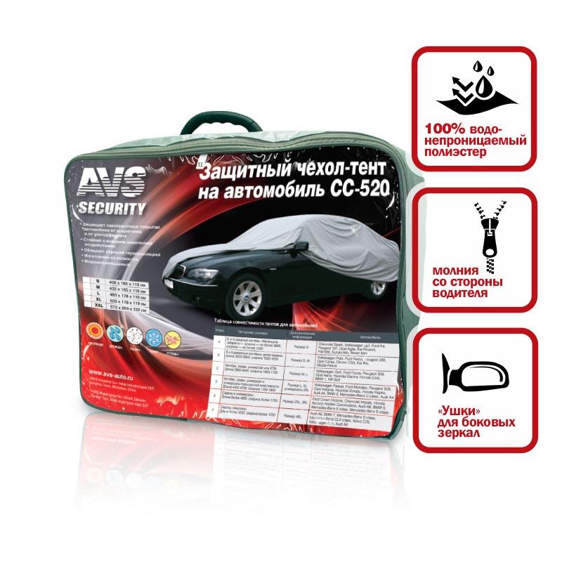 Чехол-тент защитный на автомобиль AVS, 508 х 178 х 119 см43418Водонепроницаемый защитный чехол-тент AVS защищает лакокрасочное покрытие автомобиля от выцветания и от ультрафиолета. Выполнен из полиэстера. Чехол стоек к внешним химическим воздействиям и обладает хорошей термоизоляцией. Особенности: Ушки для боковых зеркал. Молния со стороны водителя.
