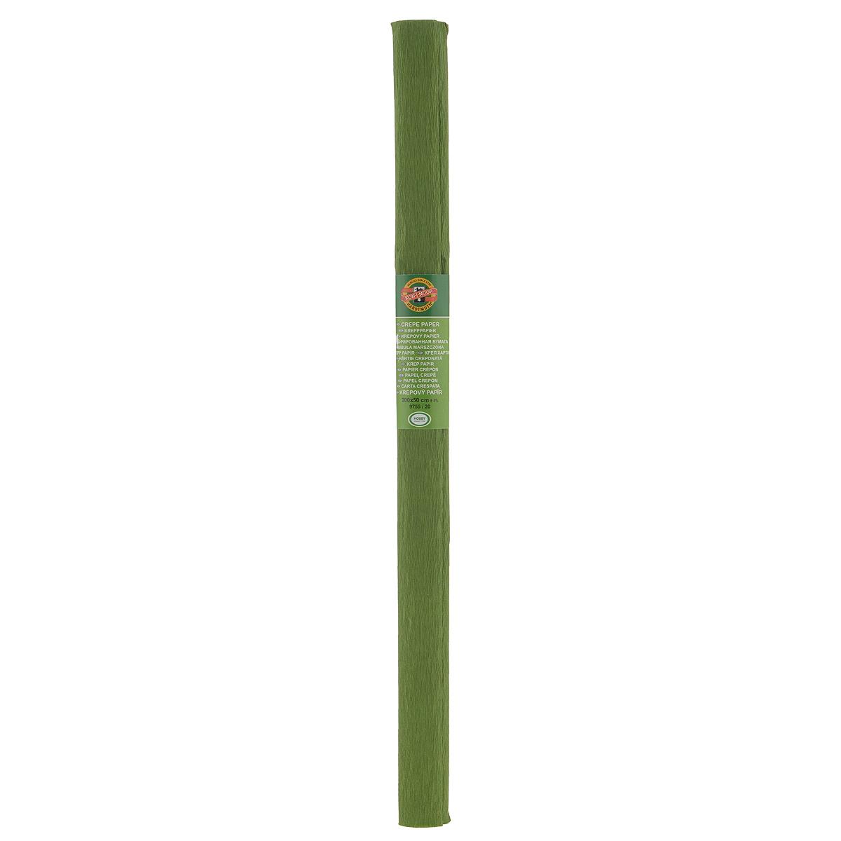 Бумага гофрированная Koh-I-Noor, цвет: оливковый, 50 см x 2 м9755/20 оливк.Крепированная бумага Koh-I-Noor - прекрасный материал для декорирования, изготовления эффектной упаковки и различных поделок. Бумага прекрасно держит форму, не пачкает руки, отлично крепится и замечательно подходит для изготовления праздничной упаковки для цветов.