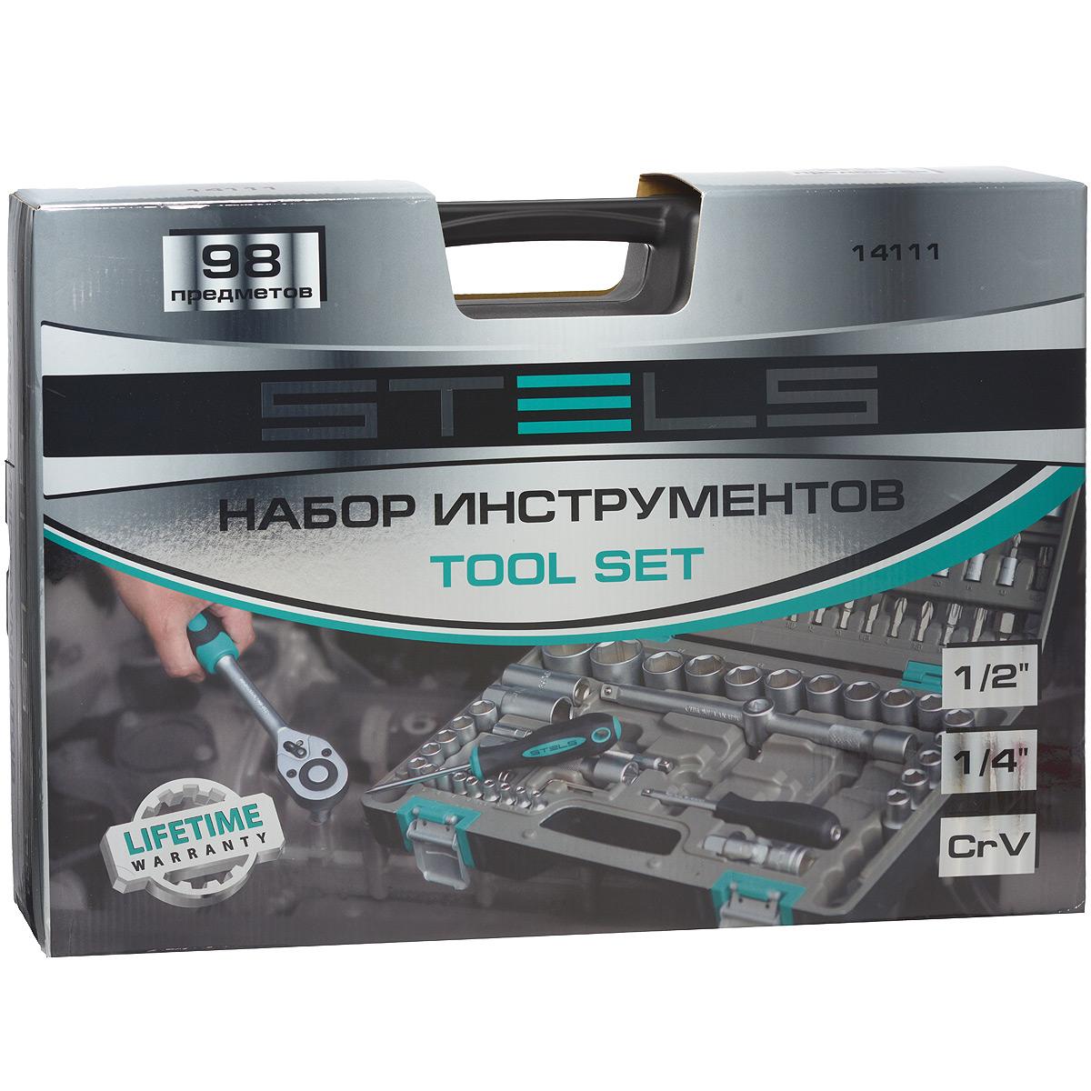 Набор инструментов Stels, 98 предметов14111Набор инструментов торговой марки Stels разработан специально для автолюбителей и центров технического обслуживания. Каждый этап производства контролируется в соответствии с международными стандартами. Головки и комбинированные ключи изготовлены из хромованадиевой стали, придающей инструменту исключительную твердость в сочетании с легкостью. Набор упакован в кейс, изготовленный из жесткого противоударного пластика. Состав набора: Ключ трещоточный: 1/2, 1/4. Головки торцевые 1/2: 12 мм, 13 мм, 14 мм, 16 мм, 17 мм, 18 мм, 19 мм, 20 мм, 22 мм, 24 мм, 27 мм, 30 мм, 32 мм. Головки торцевые 1/4: 4 мм, 4,5 мм, 5 мм, 5,5 мм, 6 мм, 7 мм, 8 мм, 9 мм, 10 мм, 11 мм, 12 мм, 13 мм, 14 мм. Ключи комбинированные: 8 мм, 9 мм, 10 мм, 11 мм, 12 мм, 13 мм, 14 мм, 15 мм, 17 мм, 19 мм. Кардан: 1/2, 14. Удлинитель 1/2: 125 мм. Удлинитель 1/4: 50 мм, 100 мм. Молоток: 300 г. Пассатижи: 175 мм. Ключи угловые шестигранные: 1,5 мм, 2...