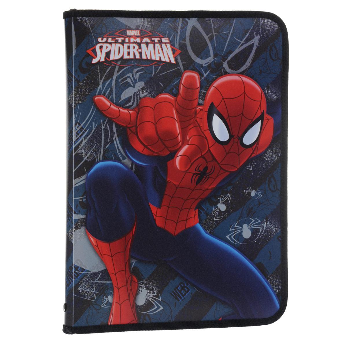 Папка для труда Spider-Man, цвет: темно-синий, красный. Формат А4SMBB-US2-PTRA4Папка для труда Spider-Man предназначена для хранения тетрадей, рисунков и прочих бумаг формата А4, а также ручек, карандашей, ластиков и точилок. Внутри находится одно большое отделение с вкладышем, содержащим 10 фиксаторов для школьных принадлежностей и фиксатор для тетрадей. Папка выполнена из прочного полипропилена и оформлена изображением Человека-Паука. Надежная застежка-молния вокруг папки обеспечивает максимальный комфорт в использовании изделия, позволяя быстро открыть и закрыть папку.
