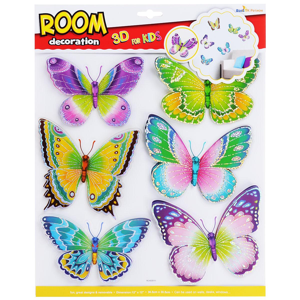 """Наклейки для интерьера Room Decoration """"Разноцветные бабочки"""", 31,5 х 30,5 см"""