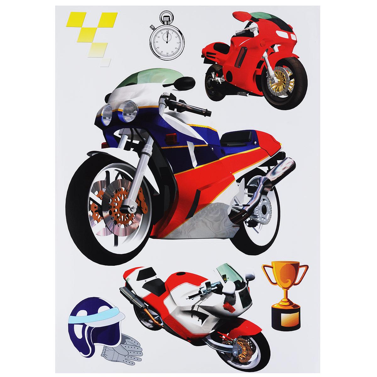 Наклейки для интерьера Стрекоза Мотоциклы, 48 х 65 см, 2 шт. HD-05133427Наклейки для стен и предметов интерьера Стрекоза Мотоциклы, изготовленные из экологически безопасной самоклеящейся пленки - это удивительно простой и быстрый способ оживить интерьер помещения. На каждом из двух листов расположены наклейки с разными мотоциклами, кубком, шлемом с перчатками, спидометром. Интерьерные наклейки дадут вам вдохновение, которое изменит вашу жизнь и поможет погрузиться в мир ярких красок, фантазий и творчества. Для вас открываются безграничные возможности придумать оригинальный дизайн и придать новый вид стенам и мебели. Наклейки абсолютно безопасны для здоровья. Они быстро и легко наклеиваются на любые ровные поверхности: стены, окна, двери, кафельную плитку, виниловые и флизелиновые обои, стекла, мебель. При необходимости удобно снимаются, не оставляют следов и не повреждают поверхность (кроме бумажных обоев). Наклейки Стрекоза Мотоциклы помогут вам изменить интерьер вокруг себя: в детской комнате и гостиной, на кухне и в прихожей,...