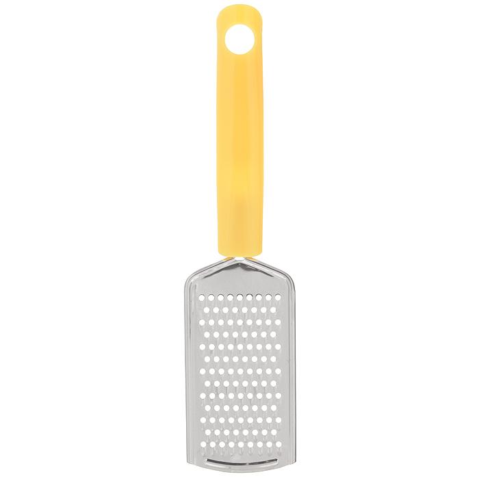 Терка с ручкой Fackelmann Polonia, цвет: желтый, длина 24,5 см521845Терка Fackelmann Polonia изготовлена из высококачественной нержавеющей стали с не прилипающим покрытием. Изделие снабжено лезвиями для мелкой терки. Благодаря удобной пластиковой ручке, терку удобно использовать и приятно держать в руках. Терка Fackelmann Polonia прекрасно дополнит коллекцию ваших кухонных аксессуаров. Размер рабочей поверхности: 6 см х 11 см. Общая длина терки: 24,5 см.
