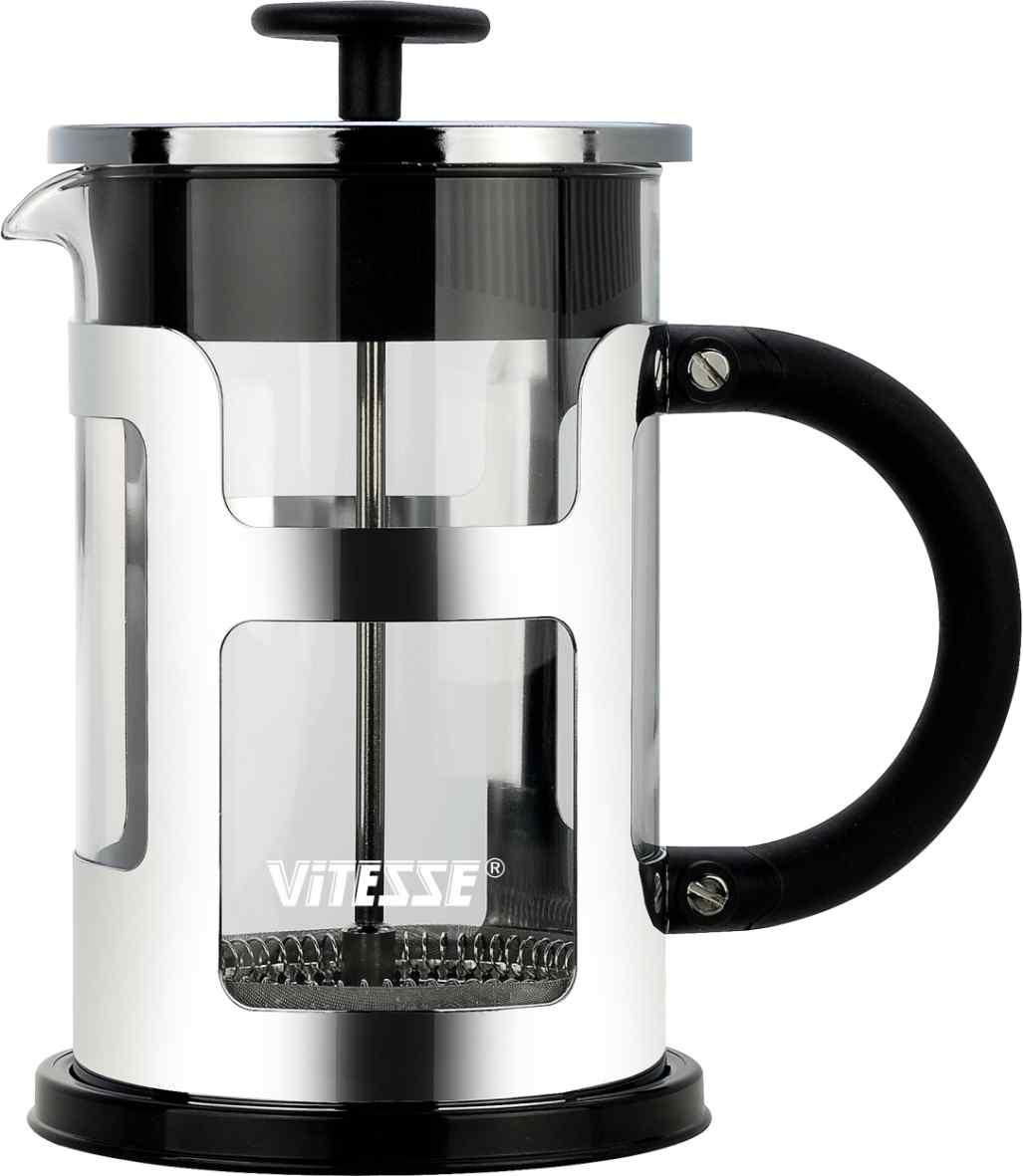 Френч-пресс Vitesse, 800 мл. VS-2612VS-2612Френч-пресс Vitesse предназначен для приготовления кофе методом настаивания и отжима, а также для заваривания чая и различных трав. Центральный элемент френч-прессов - плунжер - представляет собой фильтр с ручкой, позволяющий эффективно отделять сырье от напитка при отжиме. Корпус, фильтр и крышка выполнены из высококачественной нержавеющей стали с зеркальной полировкой, колба изготовлена из термостойкого стекла. Эргономичная прорезиненная ручка обеспечивает надежный хват и комфорт во время использования. Устойчивое пластиковое основание обладает термоизоляционными свойствами, поэтому вы можете не бояться, что ваш стол может быть поврежден от высоких температур. Специальная сеточка-фильтр эффективно задерживает чаинки и кофейный осадок. В комплекте пластиковая мерная ложка. Можно мыть в посудомоечной машине. Объем: 800 мл. Диаметр (по верхнему краю): 9,5 см. Высота френч-пресса: 19 см. Длина ложечки: 10 см. Диаметр основания:...