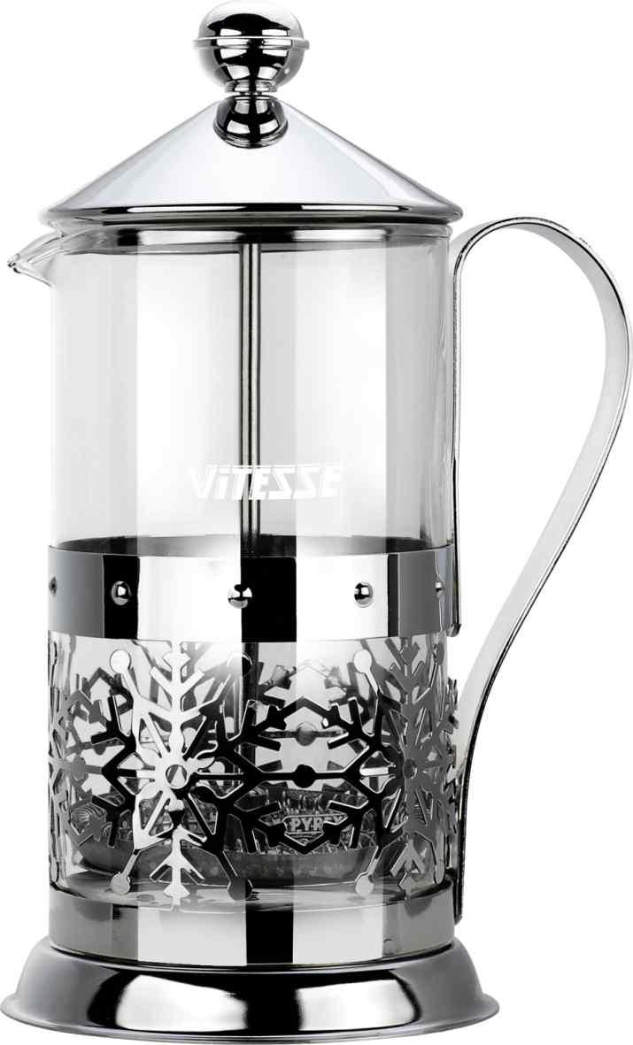 Кофеварка френч-пресс Vitesse, с мерной ложкой 600 мл. VS-2615VS-2615Кофеварка Vitesse с фильтром френч-пресс поможет вам в приготовлении ароматного кофе. Колба френч-пресса Vitesse выполнена из термостойкого стекла, что позволяет наблюдать процесс настаивания и заваривания напитка, а также обеспечивает гигиеничность посуды. Внешний корпус, выполненный из нержавеющей стали, с дизайном в виде снежинок, долговечен, прочен и устойчив к деформациям и образованию царапин. Френч-пресс имеет удобную ручку, носик, а так же мерную ложку, выполненную из пластика. Кофеварки предназначены для приготовления кофе методом настаивания и отжима. Вы также можете использовать френч-пресс для заваривания чая и различных трав. Уникальный дизайн полностью соответствует последним модным тенденциям в создании предметов бытовой техники. Можно использовать в посудомоечной машине. Высота кофеварки (без учета крышки): 17,5 см. Размер кофеварки (с учетом крышки и ручки): 23 см х 14,5 см х 11 см. Диаметр основания: 11 см. Диаметр...