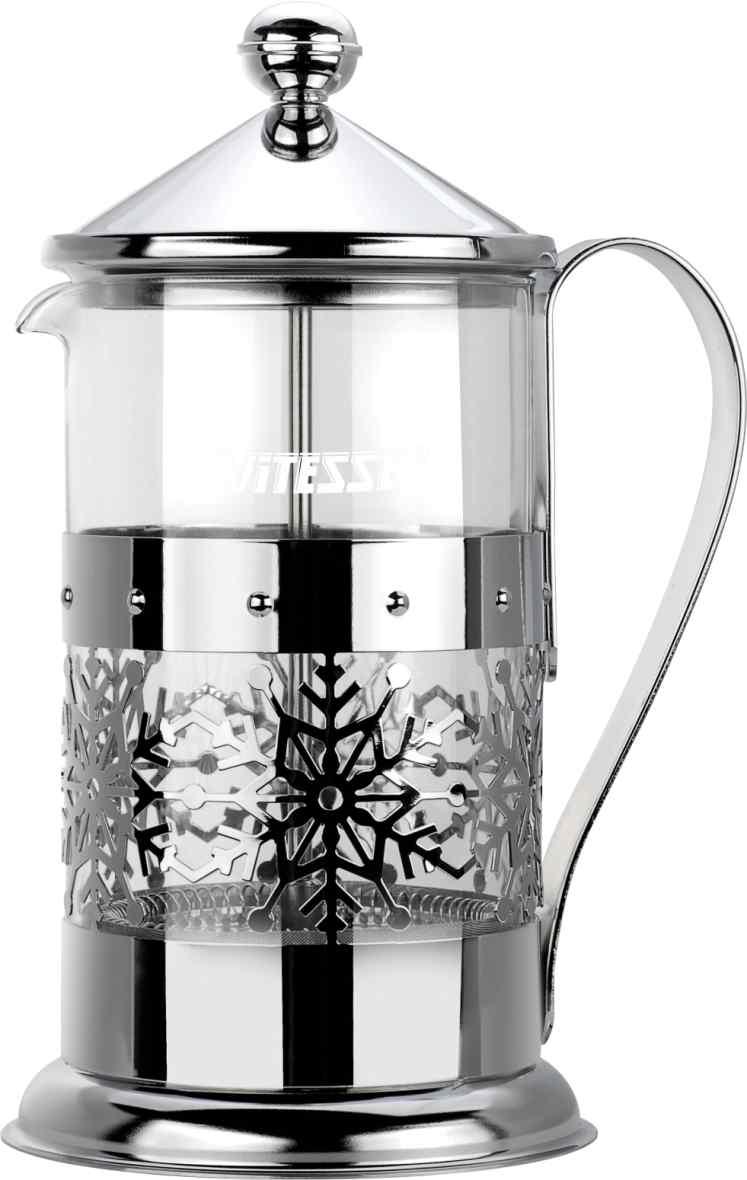 Кофеварка френч-пресс Vitesse, с мерной ложкой, 800 мл. VS-2616VS-2616Кофеварка Vitesse с фильтром френч-пресс поможет вам в приготовлении ароматного кофе. Колба френч-пресса Vitesse выполнена из термостойкого стекла, что позволяет наблюдать процесс настаивания и заваривания напитка, а также обеспечивает гигиеничность посуды. Внешний корпус, выполненный из нержавеющей стали, с дизайном в виде снежинок, долговечен, прочен и устойчив к деформациям и образованию царапин. Френч-пресс имеет удобную ручку, носик, а так же мерную ложку, выполненную из пластика. Кофеварки предназначены для приготовления кофе методом настаивания и отжима. Вы также можете использовать френч-пресс для заваривания чая и различных трав. Уникальный дизайн полностью соответствует последним модным тенденциям в создании предметов бытовой техники. Можно использовать в посудомоечной машине.