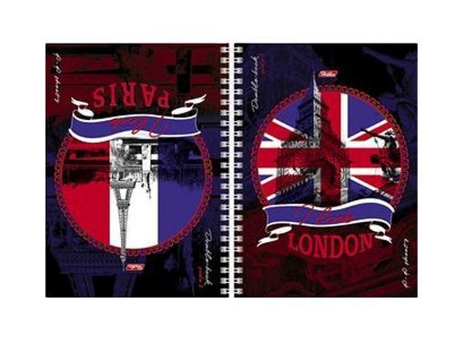 Тетрадь двойная с твердой обложкой 80л А5ф на гребне-Лондон-Париж-80Тдт5В1гр_05844Тетрадь двойная. Твердые обложки-перевертыши. 2 дизайна обложки. 80 листов. Внутренний блок 60 гр/кв.м.