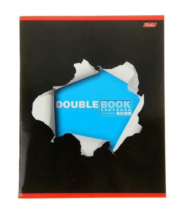 Тетрадь двойная 96л А5ф клетка на скобе-Double Book-96Тд5B1_06494Тетрадь двойная с обложками-перевертышами. Два дизайна обложки. 96 листов. Внутренний блок 60 гр/кв.м. Тип разметки: В клетку; тип бумаги: Шелковисто-матовая; формат: А5; обложка: картон; пол: унисекс; возраст: старшие классы; способ крепления: Скрепка; упаковка: Коробка картонная
