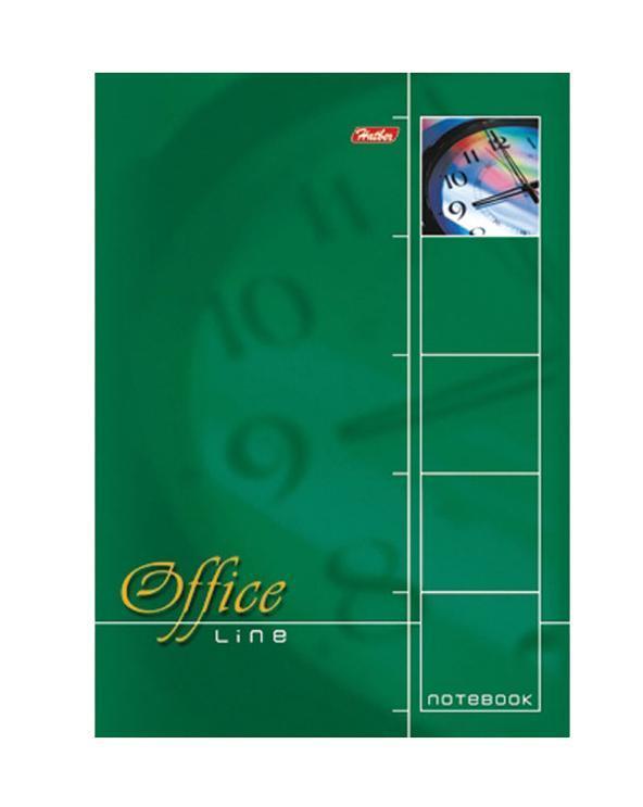Блокнот 60л А4ф клетка жесткая подложка на спирали-Office Line- Зеленый