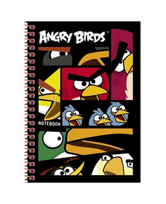 Записная книжка 140л А6ф 105х140мм клетка на пластик.спирали-ANGRY BIRDS-