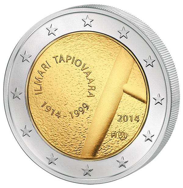 Монета номиналом 2 евро Илмари Тапиоваара. Финляндия, 2014 год341937Материал: Биметалл. Диаметр монеты: 2,6 см. Тираж монеты, шт.: 1 000 000. Качество монеты: UNC (без обращения).