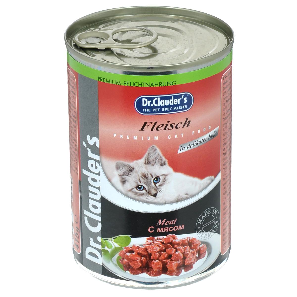 Консервы Dr. Clauders, для взрослых кошек среднего размера, кусочки с мясом, 415 г21142Консервы Dr. Clauders - полноценное сбалансированное питание для взрослых кошек среднего размера. Корм обладает высокой вкусовой привлекательностью и способен удовлетворить потребности любой кошки. Состав: мясо и мясные продукты (минимум 4% мяса), злаки, минералы, сахар. Добавки (в 1 кг): витамин А - 2000 МЕ, витамин D3 - 200 МЕ, витамин Е (альфа-токоферол) - 20 мг, таурин - 350 мг, цинк - 12 мг. Содержание питательных веществ: протеин - 7,5%, жиры - 4,5%, зола - 2,5%, клетчатка пищевая - 0,5%, влажность - 81%. Товар сертифицирован.