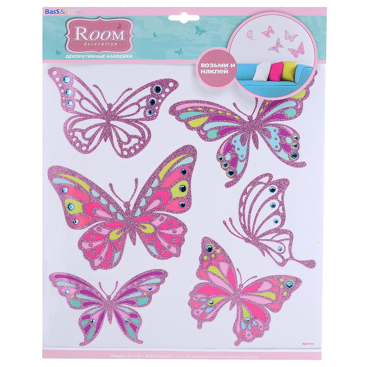 """Наклейки для интерьера Room Decoration """"Бабочки со стразами"""", цвет: розовый, 30,5 х 30,5 см"""