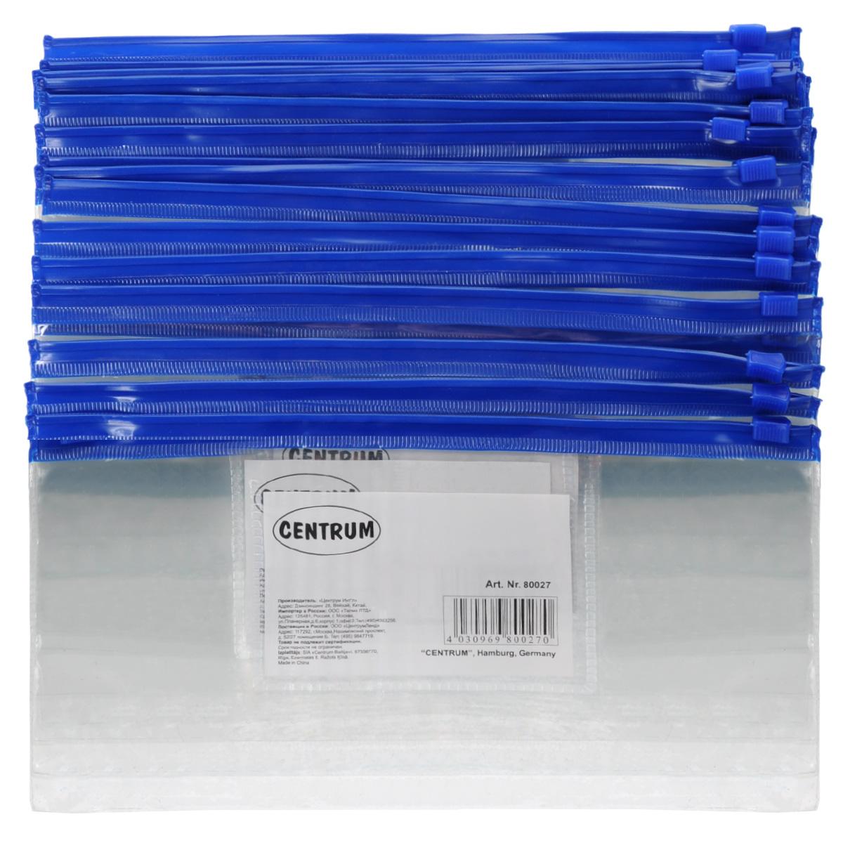 Папка-конверт на молнии Centrum, прозрачная, цвет: синий. Евроформат, 20 шт80027сини/прозрачнКомпактная папка-конверт Centrum - это удобный и практичный офисный инструмент, предназначенный для хранения и транспортировки рабочих бумаг и документов формата евро. Папка изготовлена из прозрачного пластика, закрывается на практичную застежку-молнию, имеет опрятный и неброский вид. В комплект входят 20 папок формата евро. Папка-конверт - это незаменимый атрибут для студента, школьника, офисного работника. Такая папка надежно сохранит ваши документы и сбережет их от повреждений, пыли и влаги. Размер папки: 230 х 120 мм.