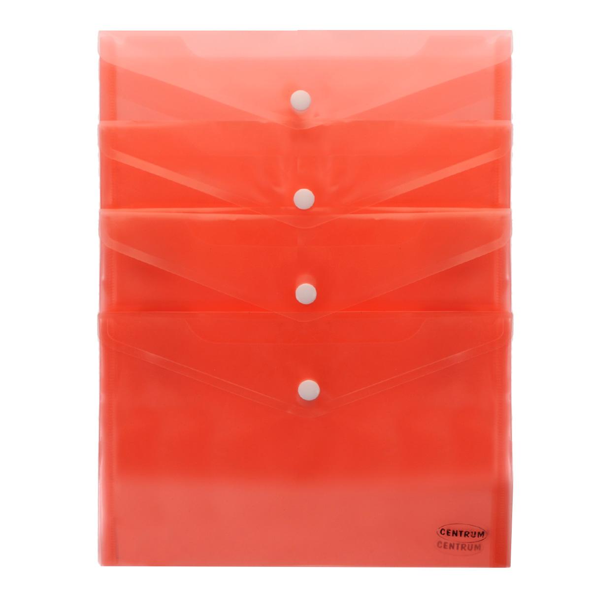 Папка-конверт на кнопке Centrum, цвет: красный. Формат А5, 12 шт80625_красныйПапка-конверт Centrum - это удобный и практичный офисный инструмент, предназначенный для хранения и транспортировки рабочих бумаг и документов формата А5. Папка изготовлена из полупрозрачного глянцевого пластика. В комплект входят 12 папок формата А5. Папка-конверт - это незаменимый атрибут для студента, школьника, офисного работника. Такая папка надежно сохранит ваши документы и сбережет их от повреждений, пыли и влаги.