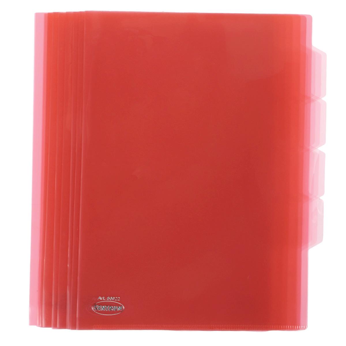 Папка-уголок Сentrum, 3 отделения, цвет: красный. Формат А4, 10 шт80022_красныйПапка-уголок Centrum - это удобный и практичный офисный инструмент, предназначенный для хранения и транспортировки рабочих бумаг и документов формата А4. Папка изготовлена из прозрачного глянцевого пластика, имеет три отделения с индексами-табуляторами. В комплект входят 10 папок формата А4. Папка-уголок - это незаменимый атрибут для студента, школьника, офисного работника. Такая папка надежно сохранит ваши документы и сбережет их от повреждений, пыли и влаги.