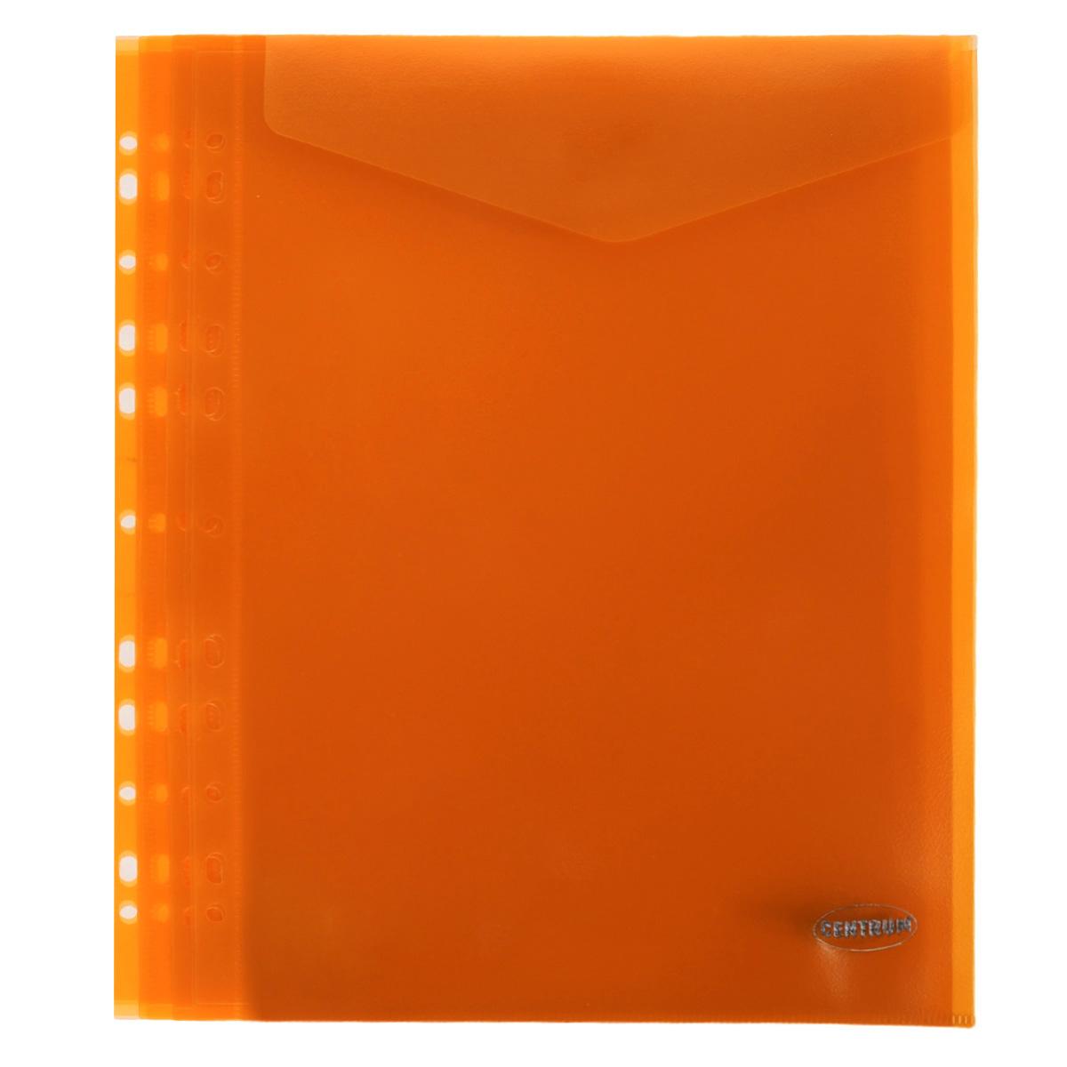 Папка-конверт Centrum, вертикальная, с перфорацией, цвет: оранжевый. Формат А4, 10 шт80630_орнажевыйПапка-конверт Centrum - это удобный и практичный офисный инструмент, предназначенный для хранения и транспортировки рабочих бумаг и документов формата А4. Папка изготовлена из полупрозрачного матового пластика, имеет перфорацию. В комплект входят 10 папок формата А4. Папка-конверт - это незаменимый атрибут для студента, школьника, офисного работника. Такая папка надежно сохранит ваши документы и сбережет их от повреждений, пыли и влаги.