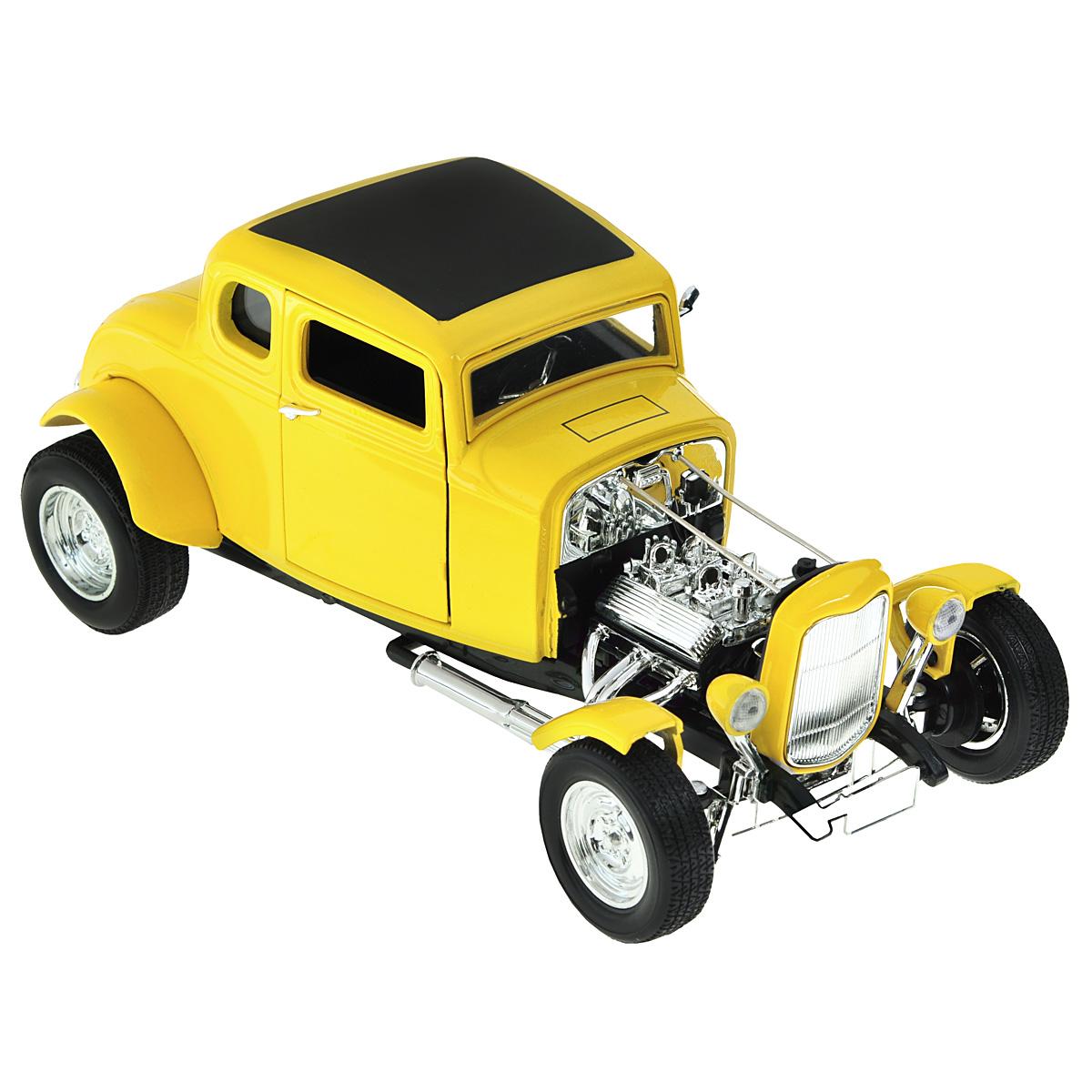 MotorMax Модель автомобиля Ford Hot Rod 1932 цвет желтыйyellow/ast73172AC