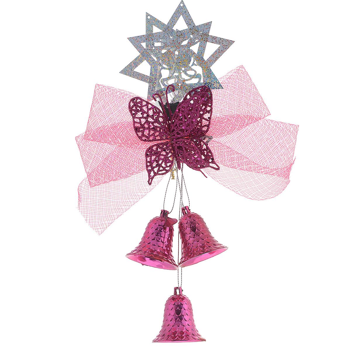Новогоднее подвесное украшение Sima-land Бабочка, цвет: розовый, длина 27 см. 811311811311Новогоднее украшение Sima-land Бабочка отлично подойдет для декорации вашего дома и новогодней ели. Украшение выполнено в виде декоративной подвесной композиции из текстильного банта, пластиковой бабочки и колокольчиков. Украшение оснащено специальным креплением из проволоки для подвешивания. Елочная игрушка - символ Нового года. Она несет в себе волшебство и красоту праздника. Создайте в своем доме атмосферу веселья и радости, украшая всей семьей новогоднюю елку нарядными игрушками, которые будут из года в год накапливать теплоту воспоминаний.