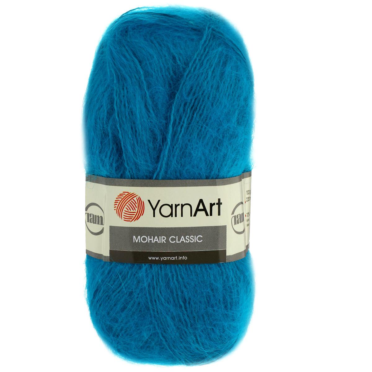 Пряжа для вязания YarnArt Mohair Classic, цвет: бирюзовый (106), 220 м, 100 г, 5 шт372026_106Пряжа для вязания YarnArt Mohair Classic изготовлена из натурального мохера с добавлением акрила. Пряжа из такого материала обладает повышенной прочностью и эластичностью, а изделия получаются теплые и уютные. Скрутка нити плотная, равномерная, не расслаивается, не путается, хорошо скользит по спицам, вяжется очень легко. Петли выглядят аккуратно, а натуральный мохер обеспечивает теплоту, легкость и превосходный внешний вид. Нить можно комбинировать с полушерстяными пряжами для смягчения рисунка, придания благородной пушистости фактуре нити, а также для улучшения тепловых характеристик. Пряжа прекрасно подходит для создания зимних вещей: свитеров, кардиганов, жилетов, шапок, беретов, палантинов, шарфов, перчаток, варежек. Не колется и может использоваться для изготовления детской одежды. Благодаря содержанию синтетических волокон, изделия из YarnArt Mohair Classic отлично держат форму, не вытягиваются, катышки не образуются, тонкая нить...
