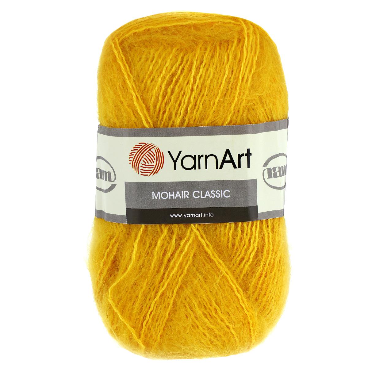 Пряжа для вязания YarnArt Mohair Classic, цвет: желтый (136), 220 м, 100 г, 5 шт372026_136Пряжа для вязания YarnArt Mohair Classic изготовлена из натурального мохера с добавлением акрила. Пряжа из такого материала обладает повышенной прочностью и эластичностью, а изделия получаются теплые и уютные. Скрутка нити плотная, равномерная, не расслаивается, не путается, хорошо скользит по спицам, вяжется очень легко. Петли выглядят аккуратно, а натуральный мохер обеспечивает теплоту, легкость и превосходный внешний вид. Нить можно комбинировать с полушерстяными пряжами для смягчения рисунка, придания благородной пушистости фактуре нити, а также для улучшения тепловых характеристик. Пряжа прекрасно подходит для создания зимних вещей: свитеров, кардиганов, жилетов, шапок, беретов, палантинов, шарфов, перчаток, варежек. Не колется и может использоваться для изготовления детской одежды. Благодаря содержанию синтетических волокон, изделия из YarnArt Mohair Classic отлично держат форму, не вытягиваются, катышки не образуются, тонкая нить...