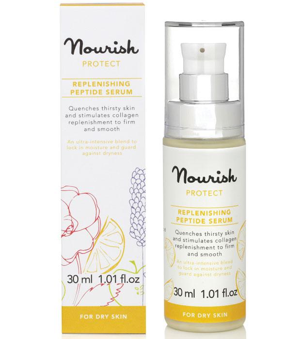 Nourish Сыворотка для лица Protect, с экстрактом цитруса, для сухой кожи, 30 млУТ000000995Содержание органических масел апельсина и мандарина в сыворотке Protect для сухой кожи обеспечивает глубокое увлажнение вашей коже. Увлажняющая концентрированная сыворотка для лица эффективно воздействует на кожу, делая ее заметно более здоровой и молодой, улучшает клеточную структуру, снижает негативное внешнее воздействие окружающей среды, кондиционеров, сухого воздуха помещений. - масло кожура апельсина обладает тонизирующим эффектом, стимулирует регенерацию сухой кожи, увлажняет ее и усиливает циркуляцию крови, очищает и стягивает поры, уменьшает отеки; - масло кожуры мандарина, один из самых ценных и лучших подарков природы, тонизирует и освежает утомленную кожу, выравнивает рельеф эпидермиса, возвращает коже эластичность и упругость, отлично разглаживает морщины, а также улучшает цвет и состояние кожи; -трипептид-5 стимулирует выработку коллагена, вследствие чего повышается упругость кожи, снимает воспалений и стимулирует процессы регенерации,...